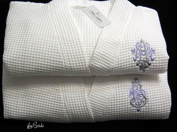 Monogram robes 2nd cotton anniversary gift for her jfyBride  3ac656d5a