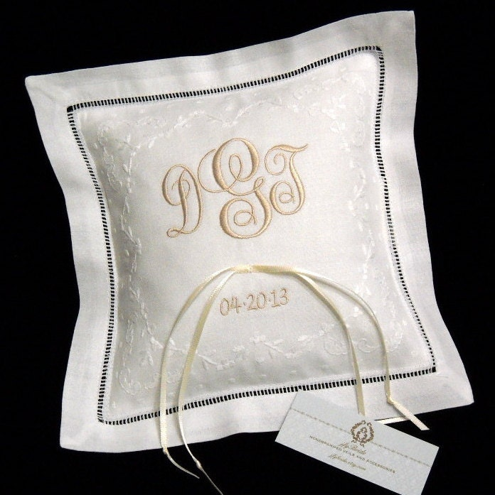 Monogram Wedding Ring Bearer Pillow: Ring Bearer Pillow Monogram Irish Linen Wedding Ring
