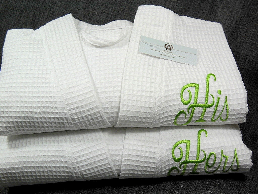 his and hers monogrammed bathrobes couples personalized cotton etsy. Black Bedroom Furniture Sets. Home Design Ideas