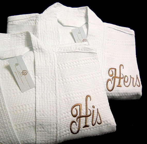 Mr And Mrs Questions For Him: His And Hers Monogram Cotton Waffle Robes 2nd Cotton