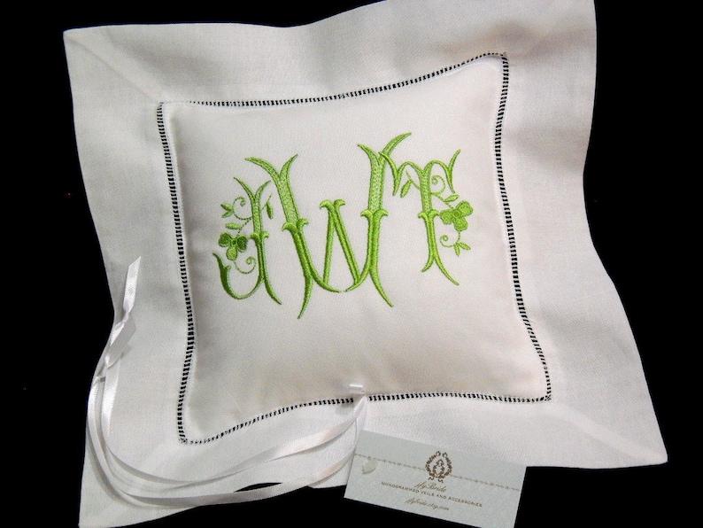 Monogrammed Irish linen ring bearer pillow Embroidered shamrock ring cushion jfyBride Style 5208