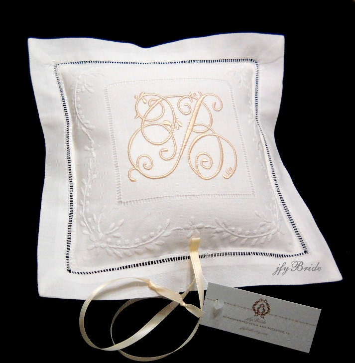 Monogram Wedding Ring Bearer Pillow
