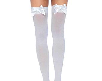 e0da4076d9677 Sugarpuss BOW THIGH HIGH Stockings, Opaque White with White Satin Bows