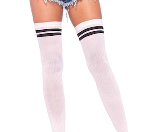 b396148c666 Sugarpuss RIBBED ATHLETIC Thigh High SOCKS