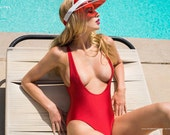 Sugarpuss SUSPENDER ONEPIECE SUIT in Red, Rioback Bodysuit, 80s Style Swimsuit, Aerobics Leotard