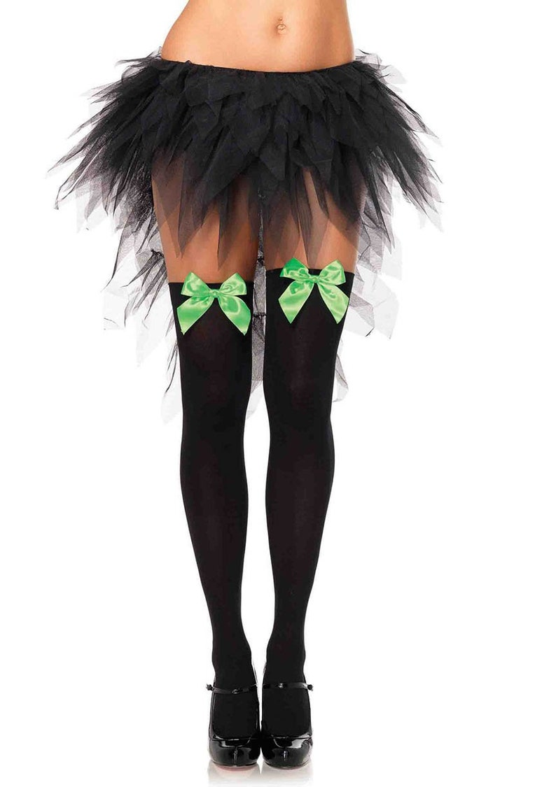 80bd64d3d33 Sugarpuss JOKER THIGH HIGH Stockings Opaque Black with Green