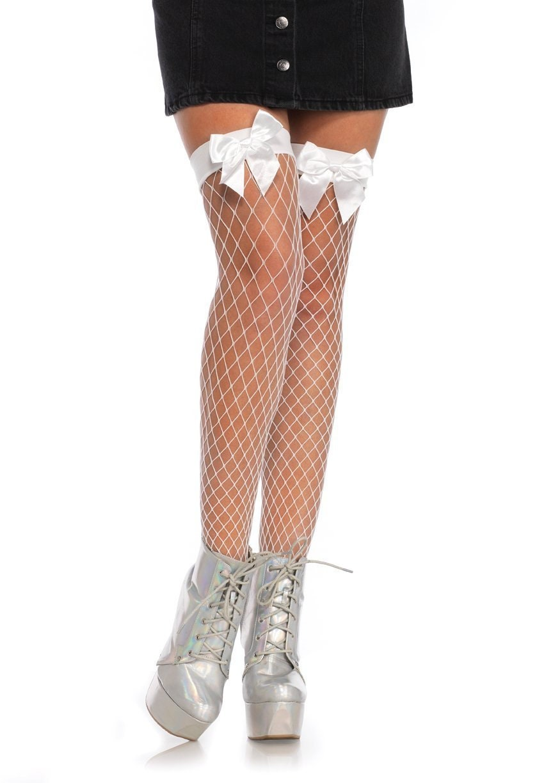 0413d1de92d Sugarpuss FENCE NET STOCKINGS White Thigh High Fishnet Socks