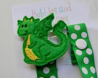 Dragon Fabric Pacifier Clip Baby Boy Girl Baby Shower Gift Nursery NUK Mam Soothie Binky Dummy Clip