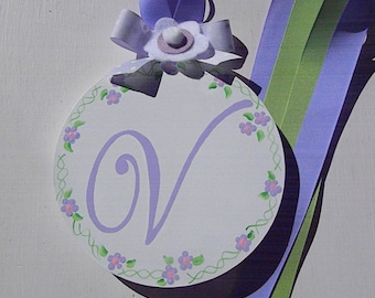 Hair bow Holder-Round Initial Hand Painted Hair Bow Holder-round bow holder