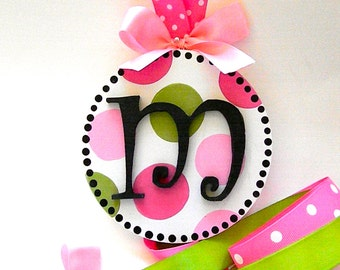 Round Initial Hand Painted Hair Bow Holder