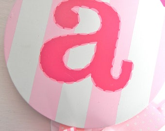 Hair Bow Holder-Round Initial Hand Painted Hair Bow Holder-Initial Bow Holder-Script bow holder-personalized bow holder- name bow holder