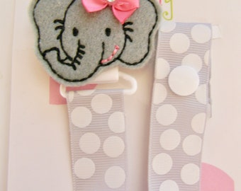Pacifier holder, pacifier clip, elephant pacifier clip, elephant baby gift, binky clip, binky holder, baby shower gift, paci clip