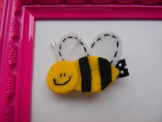 Felt Hair Clip - Felt Bumble Bee Hair Clip