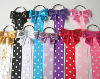 Sequin Bow Hair Bow Holder - Hair Clip Holder - Barrette Holder with Polka Dotted Ribbon - bow holder