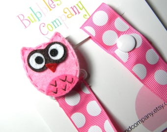 Pacifier holder, pacifier clip, owl pacifier clip, owl baby gift, owl binky clip, binky holder, baby shower gift paci clip