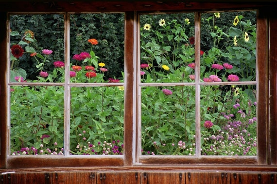 Wall Mural Window Self Adhesive Garden Window View 3 Sizes | Etsy