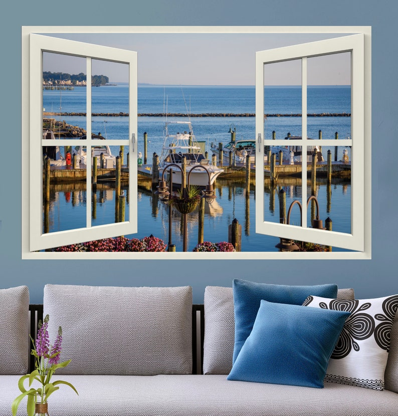 Fake window sticker mural of view with window frame decal of window view-3 sizes available-Chesapeake Beach Marina-perfect gift