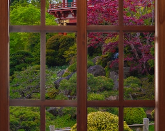 Wall mural window, self adhesive, San Francisco window view-large 24x36-Japanese Tea Garden Pagoda