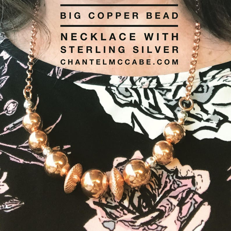 Big bead solid copper necklace with sterling silver rolo image 0