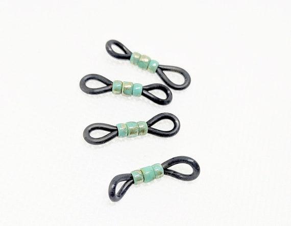 Bag of 65 Eyeglass Cord Chain Rubber End Loop Grip Findings-Silver,Gold,Black