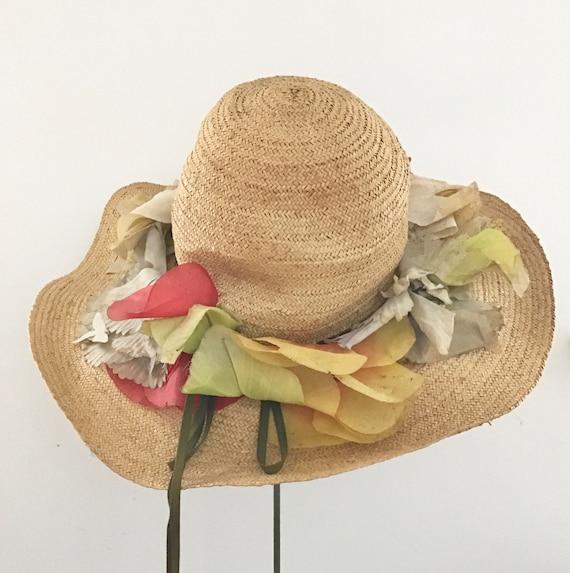 Vintage Adolfo Straw Garden Hat/Wide-Brimmed Hat/I