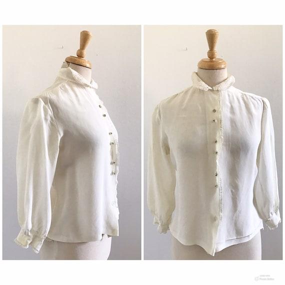 1940s-1950s White Rayon Blouse