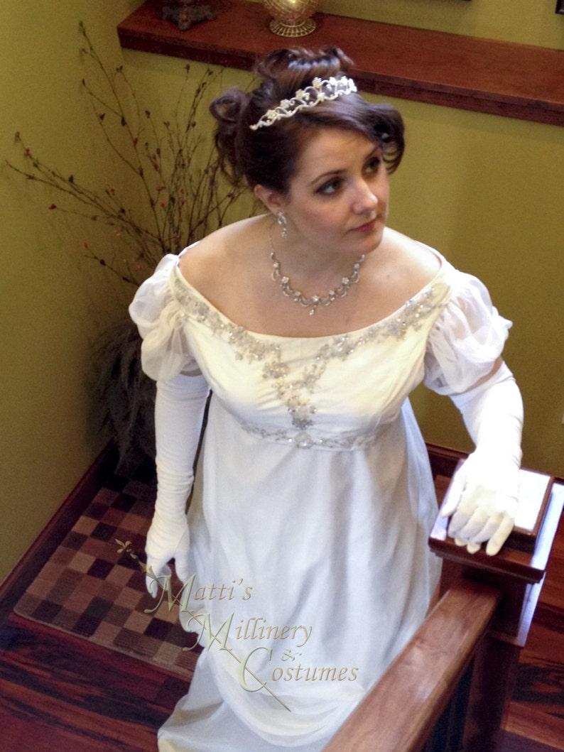 0e21fa0624 Custom White Silk Elegant Princess Bridal Ball Regency Gown with crystal  applique