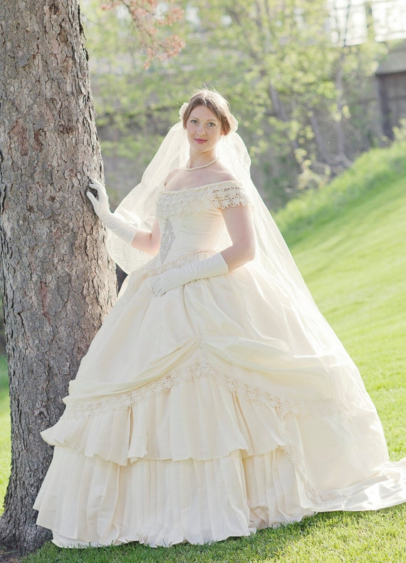 Vintage Style Wedding Dresses, Vintage Inspired Wedding Gowns Bridal Wedding Victorian Civil War Steampunk Gown Dress includes veil $1,250.00 AT vintagedancer.com