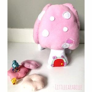 Fairy toadstool play set felt toy cushion pretend play outdoor magical play girls room boys room Felt toys playroom fairy garden