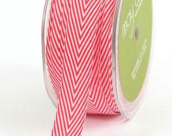CHEVRON Twill Ribbon, 3/4 inch wide, Herringbone, Red, 2 Yards