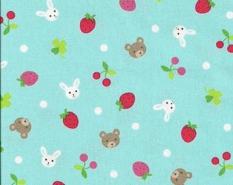 Japanese, Bears, Bunnies and Strawberries in Red and Aqua, Half Yard