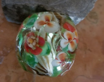 Lampwork Glass Bead Floral Focal- Handmade by Sand and Surf Beads - SRA