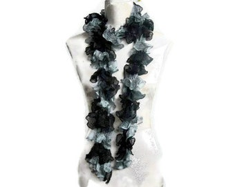 Hand Knitted Scarf.  Black and Gray,  Knitted Scarf.   Soft Hand Knitted Scarf.Trendy, Infinity scarf