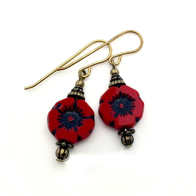 red black glass drops red glass flower earrings Red Czech glass earrings Red poppy glass earrings red drop earrings