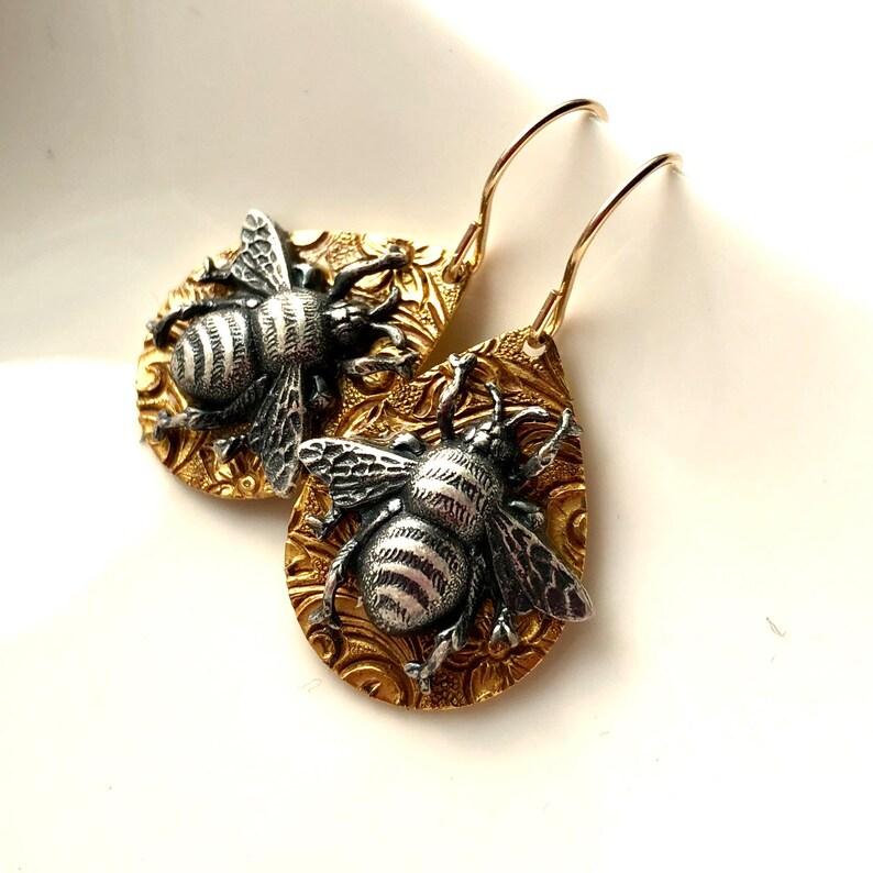 silver and gold bee earrings Bumblebee earrings vintage bee drop earrings