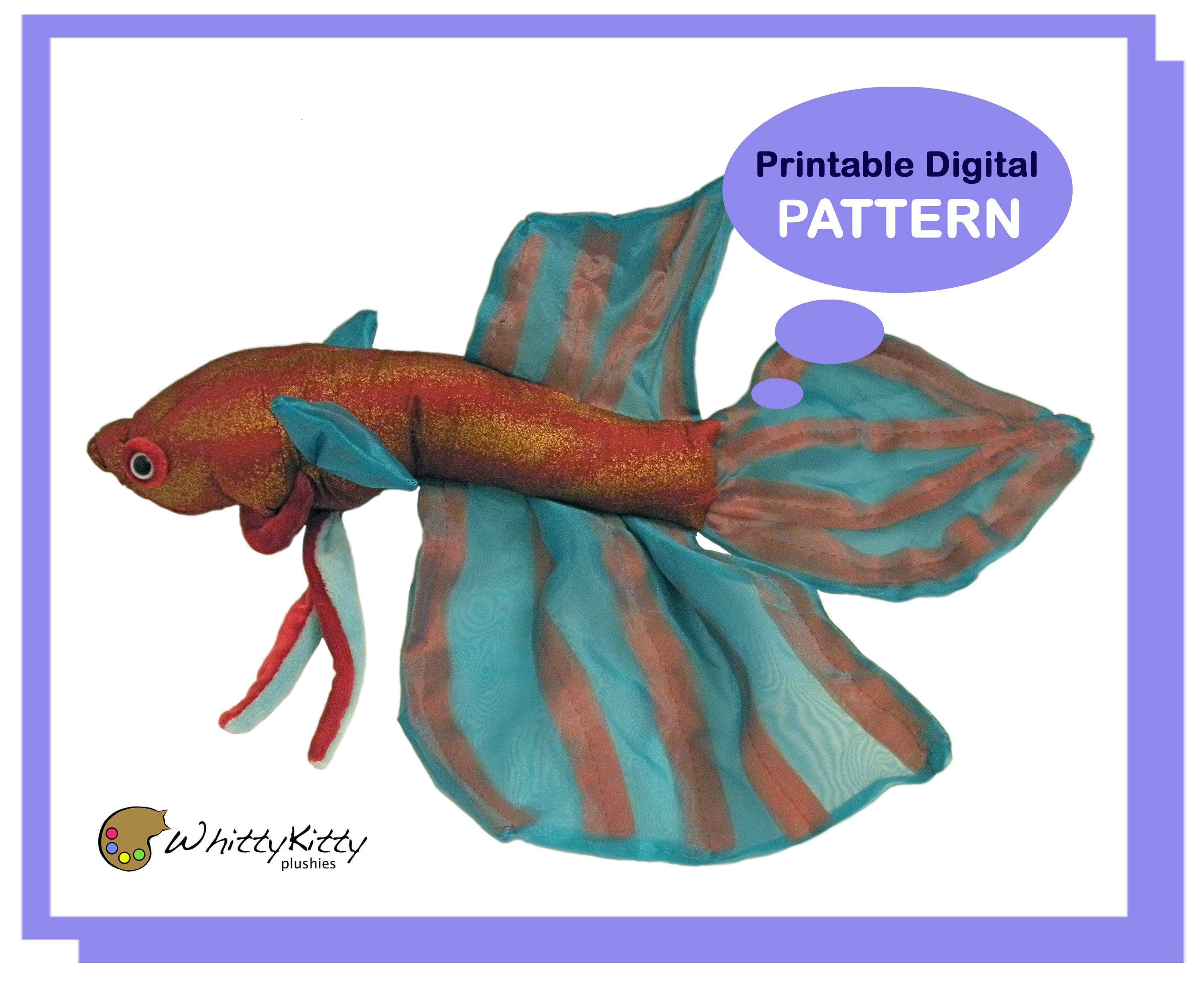 Pattern Realistic Betta Fish Plush Etsy