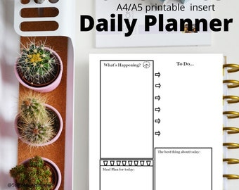 Home Office Daily Journal Planner - Digital Printable half letter A4/A5