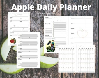 Daily Planner Calendar Apple Theme quotes Printable Insert 5.5 x 8.5 half page