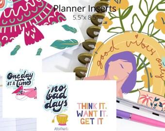 Positive Vibes Dashboard Insert Covers for Planner - Digital Printable half letter Journal