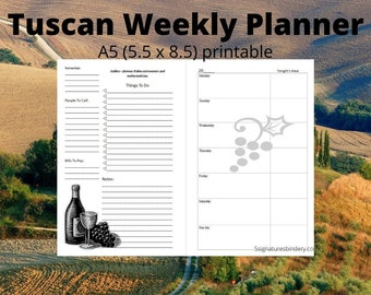 Weekly Planner Calendar Tuscan Wine Theme quotes Printable Insert 5.5 x 8.5 half page