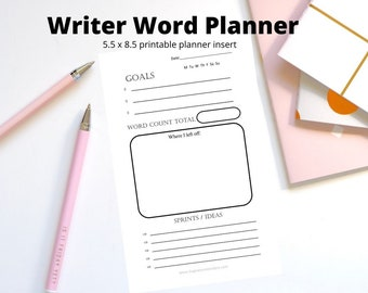 Writer Word Count Daily Journal Planner - Digital Printable half letter