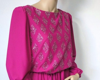 Dress 1980's Raspberry Pink Disco Vintage Sparkle Fuchsia Pink Party Dress Blouson Bodice Long Sleeve Knit Size Small