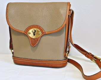 Dooney Bourke Handbag Taupe British Tan Purse All Weather Leather Pebble Flap Front Crossbody 1980's Shoulder Bag