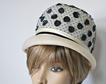 Mod Hat 1960's Bullet Bobbie Hat Off White Woven Hat Bucket Go-Go Bubble White Straw Black