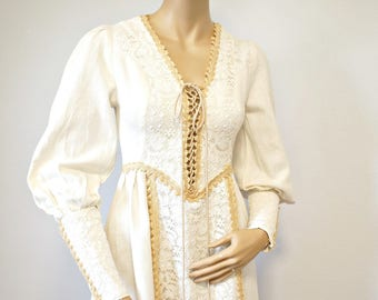 Gunne Sax Dress Vintage 1970's Renaissance Peasant Prairie Thick Muslin Corset Wedding Size Small Size Extra Small