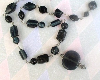 Necklace Beaded Handmade Wire Wrapped Dark Midnight Blue Circle Glass Pendant