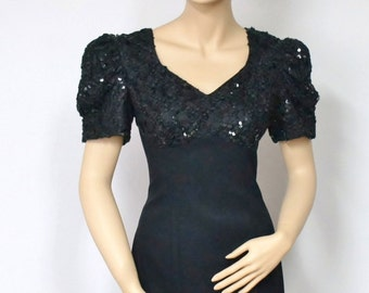 Vintage Black Dress Sequin Party Little Black Dress Wiggle Mini Cocktail Sheath Dress Slinky Clubbing Dress Size 6