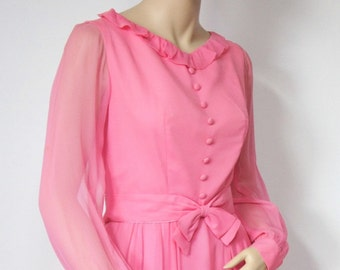 1960's Emma Domb Gown Designer Maxi Dress Pink Chiffon Empire Waisted Prom Bridesmaid Party Dress Size Small