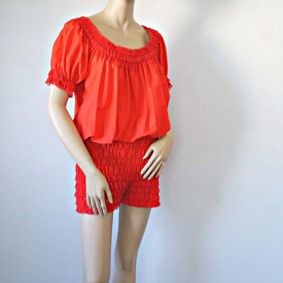 f729fcdbef8c Vintage Romper Square Dance Red Pettipant Peasant Top One