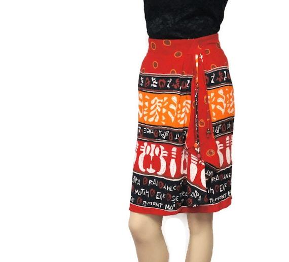 jupe vintage ann es 80 tribal impression wrap jupe automne. Black Bedroom Furniture Sets. Home Design Ideas